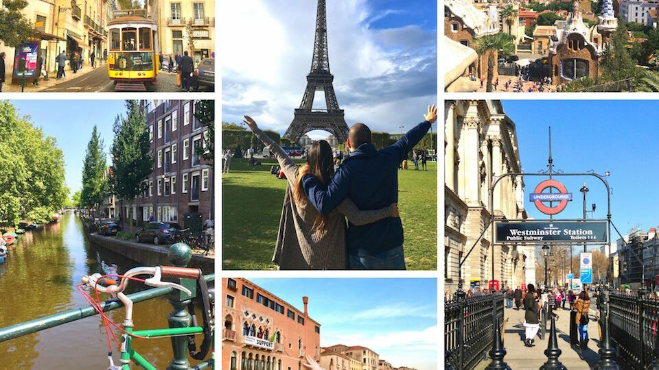Collage of imges from different cities in Europe